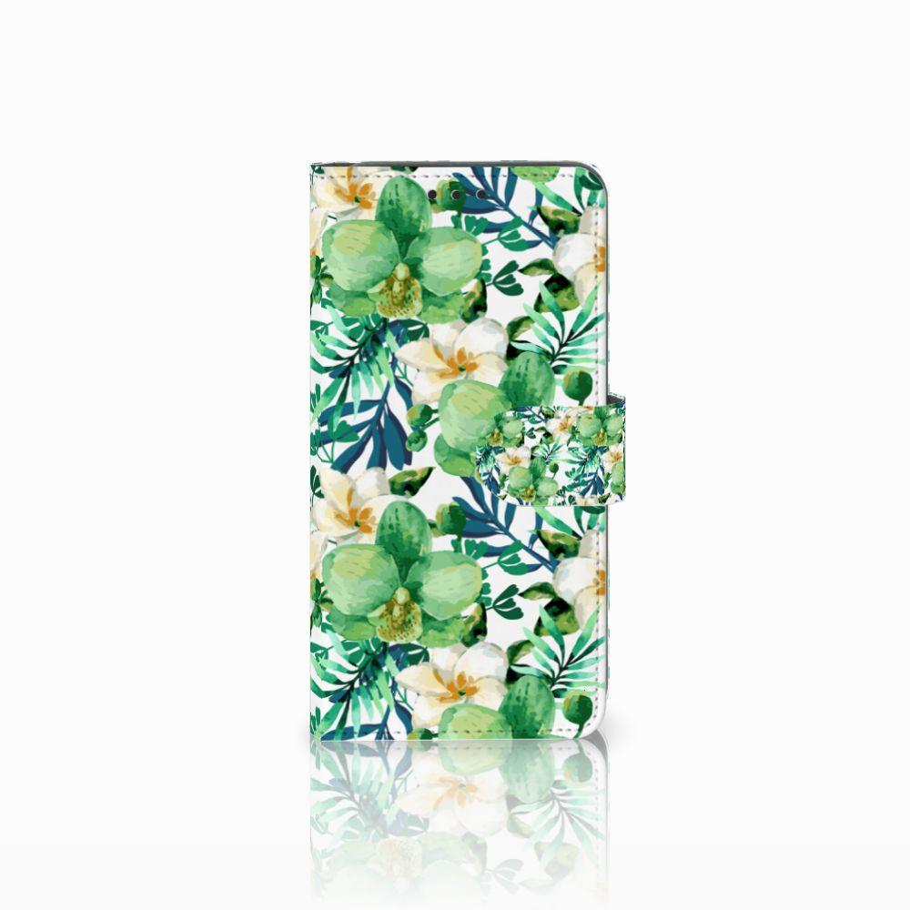 Samsung Galaxy A8 2018 Uniek Boekhoesje Orchidee Groen