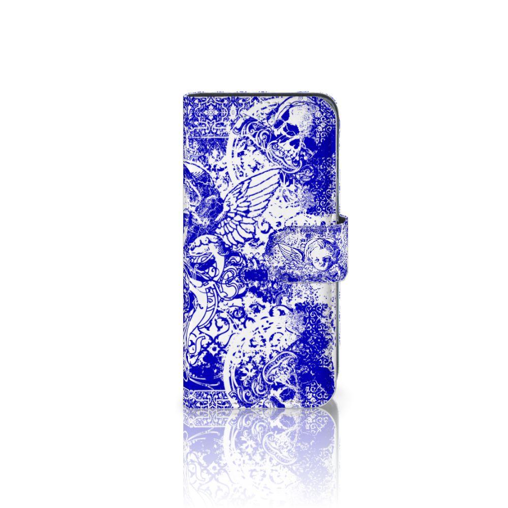Samsung Galaxy A5 2016 Uniek Boekhoesje Angel Skull Blue