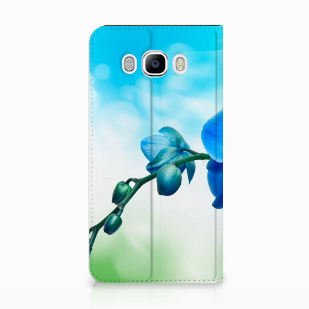 Samsung Galaxy J7 2016 Standcase Hoesje Design Orchidee Blauw