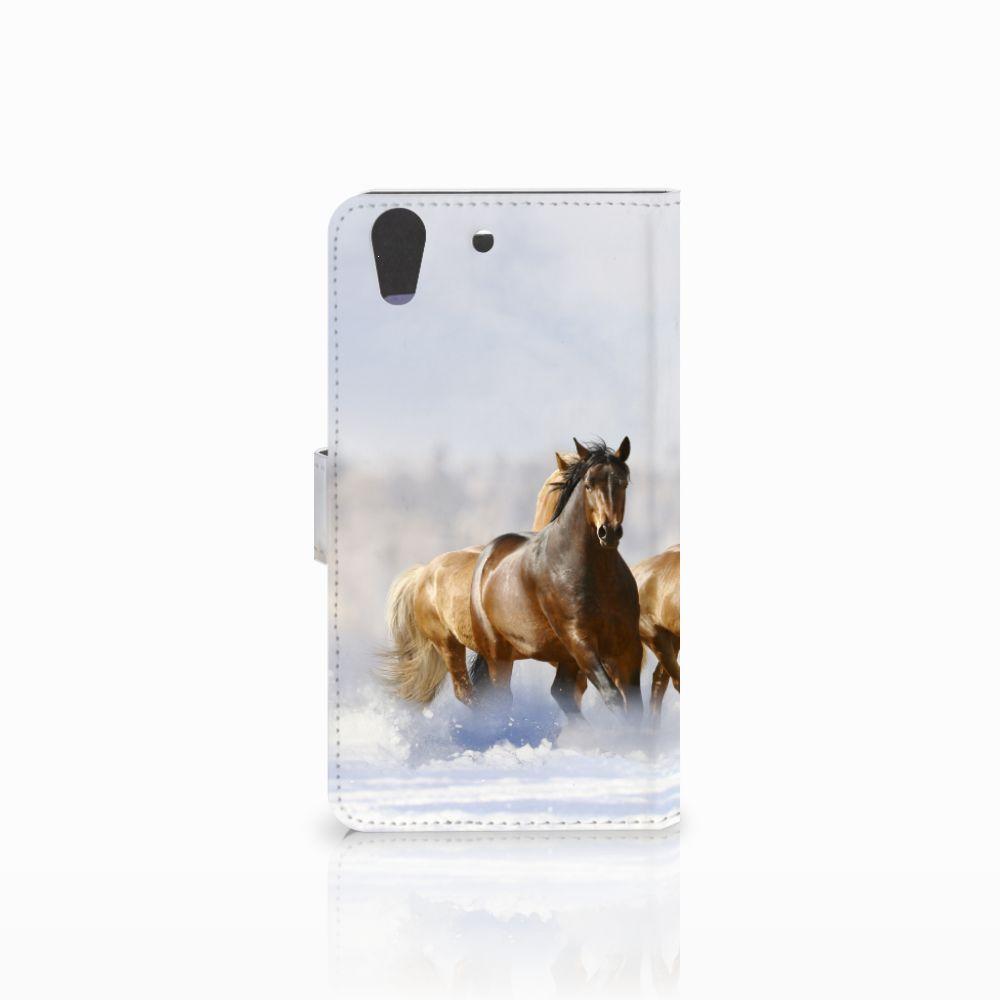 Huawei Y6 II   Honor 5A Telefoonhoesje met Pasjes Paarden
