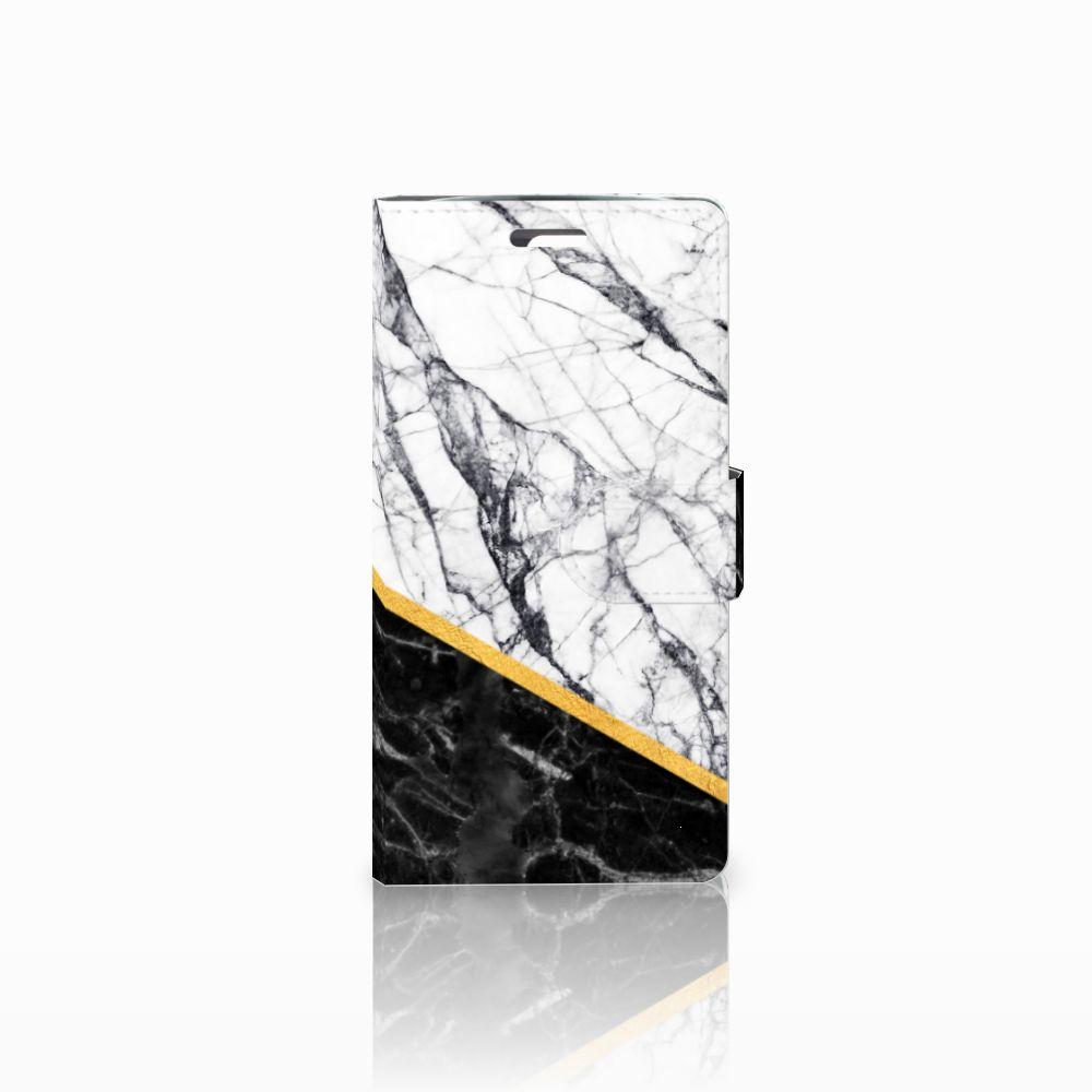 LG K10 2015 Uniek Boekhoesje Marble White Black