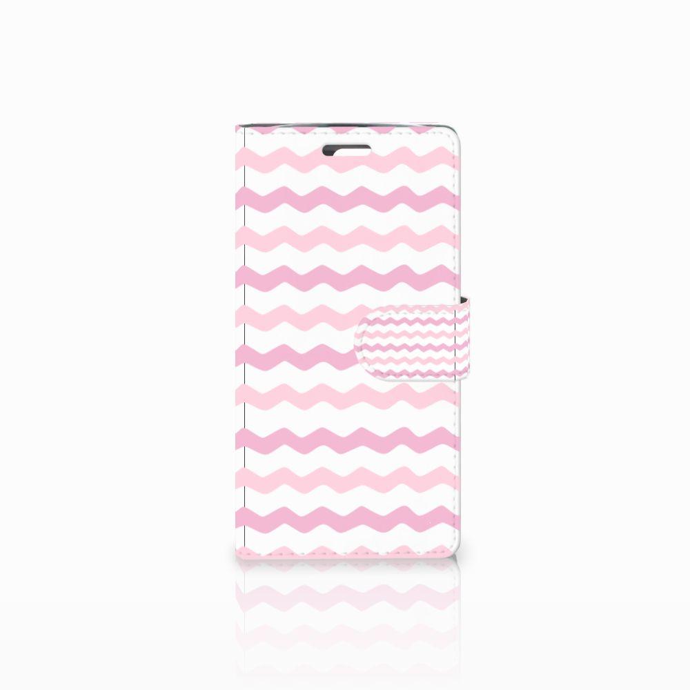 LG K10 2015 Uniek Boekhoesje Waves Roze