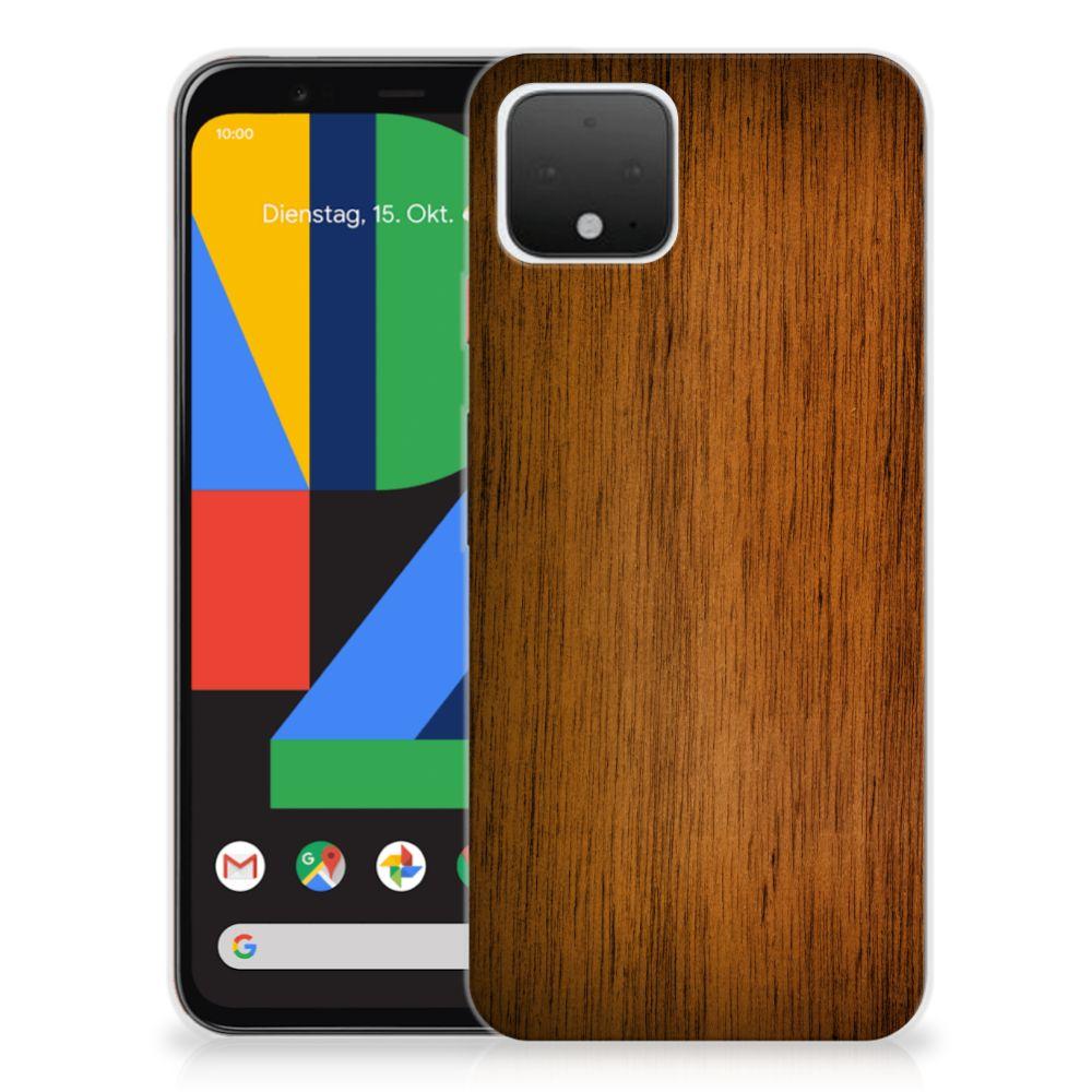 Google Pixel 4 Bumper Hoesje Donker Hout