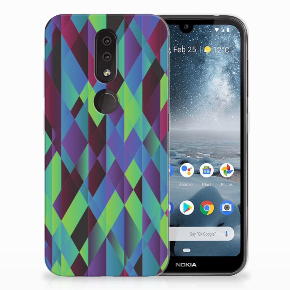 Nokia 4.2 TPU Hoesje Abstract Green Blue