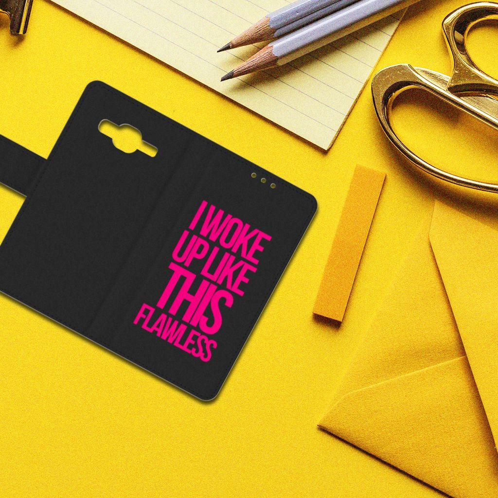 Samsung Galaxy J5 (2015) Hoesje met naam Woke Up - Origineel Cadeau Zelf Maken