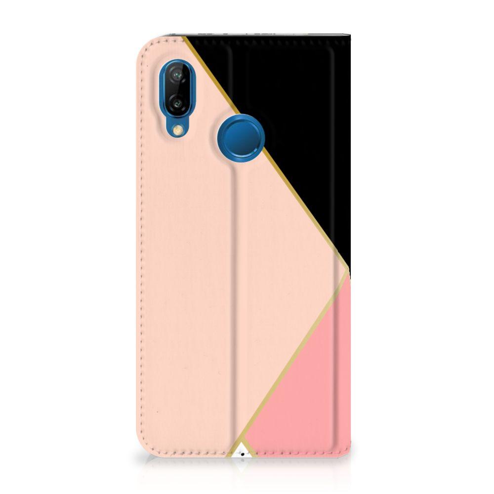 Huawei P20 Lite Uniek Standcase Hoesje Black Pink Shapes