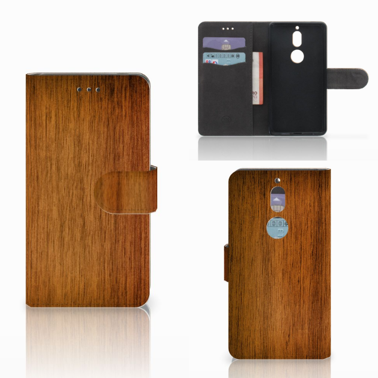 Nokia 7 Book Style Case Donker Hout