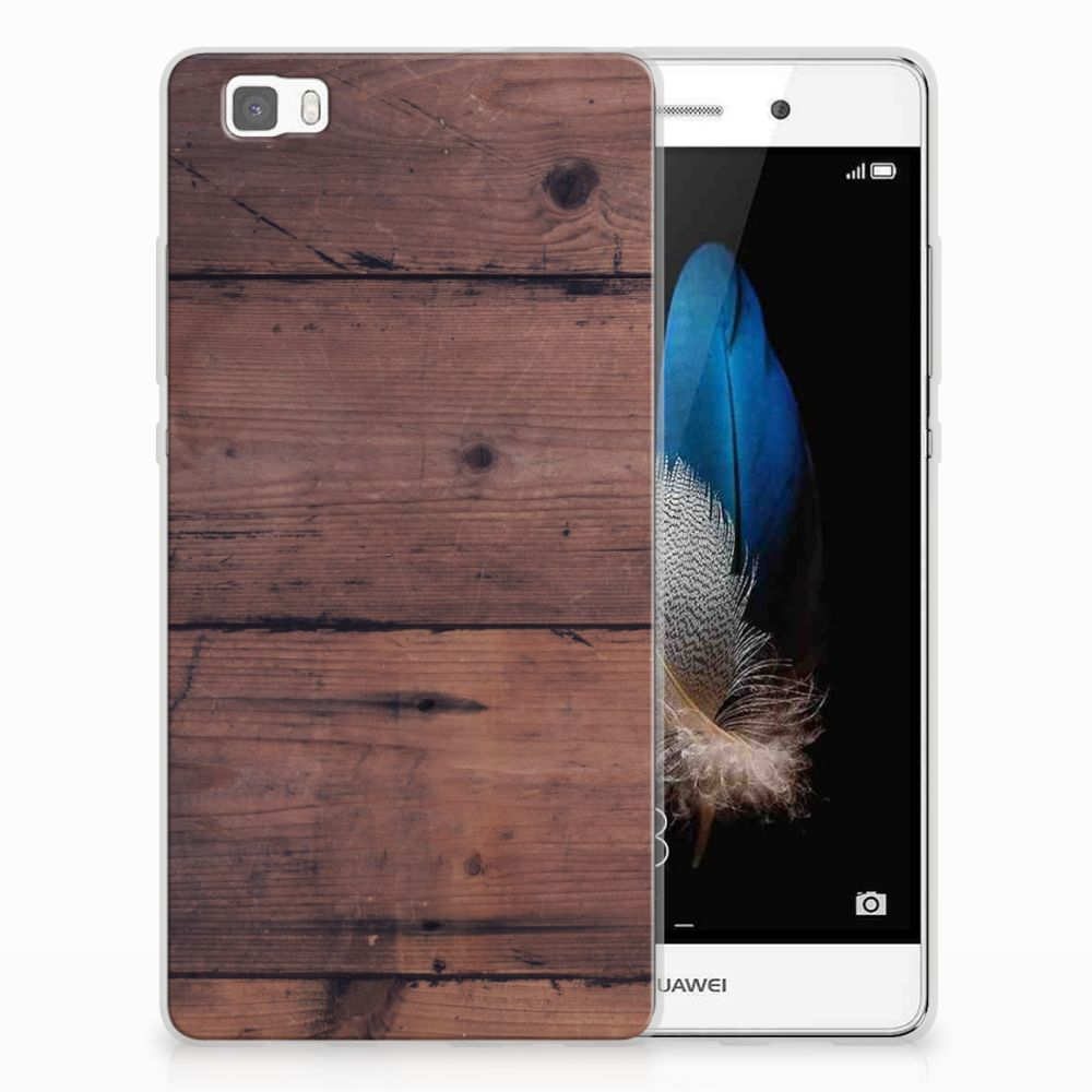 Huawei Ascend P8 Lite Uniek TPU Hoesje Old Wood