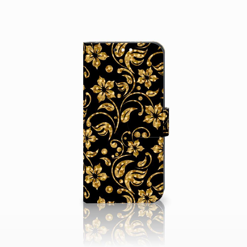 Huawei Mate 10 Lite Boekhoesje Design Gouden Bloemen