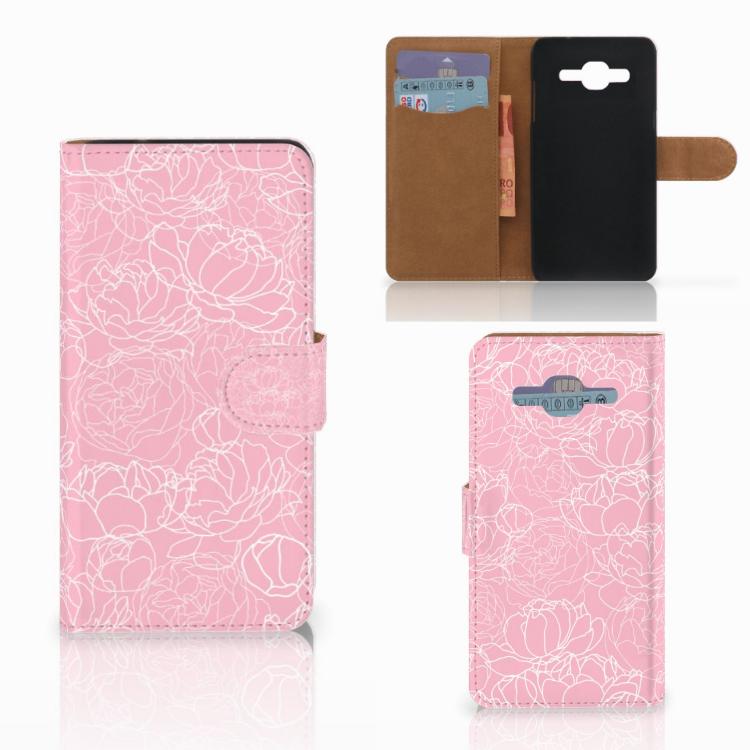 Samsung Galaxy J2 2016 Wallet Case White Flowers