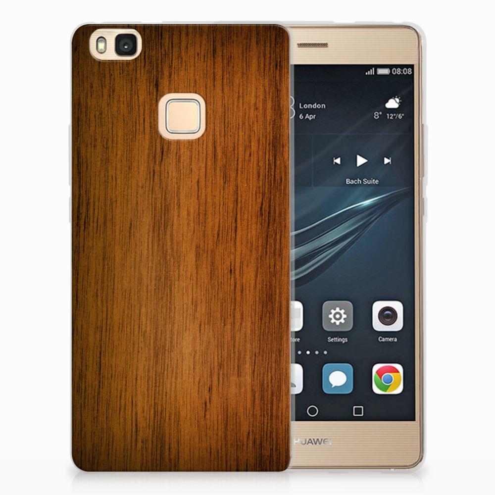 Huawei P9 Lite Uniek TPU Hoesje Donker Hout