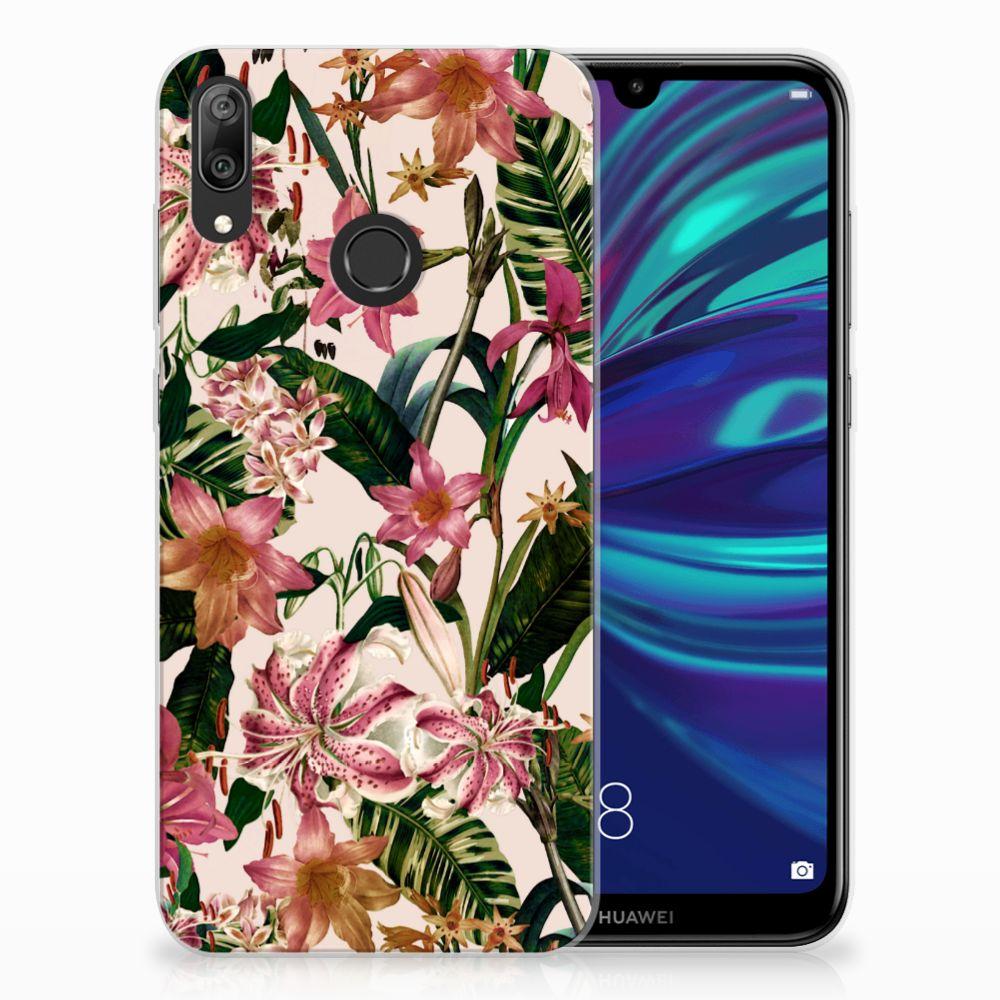 Huawei Y7 2019 Uniek TPU Hoesje Flowers