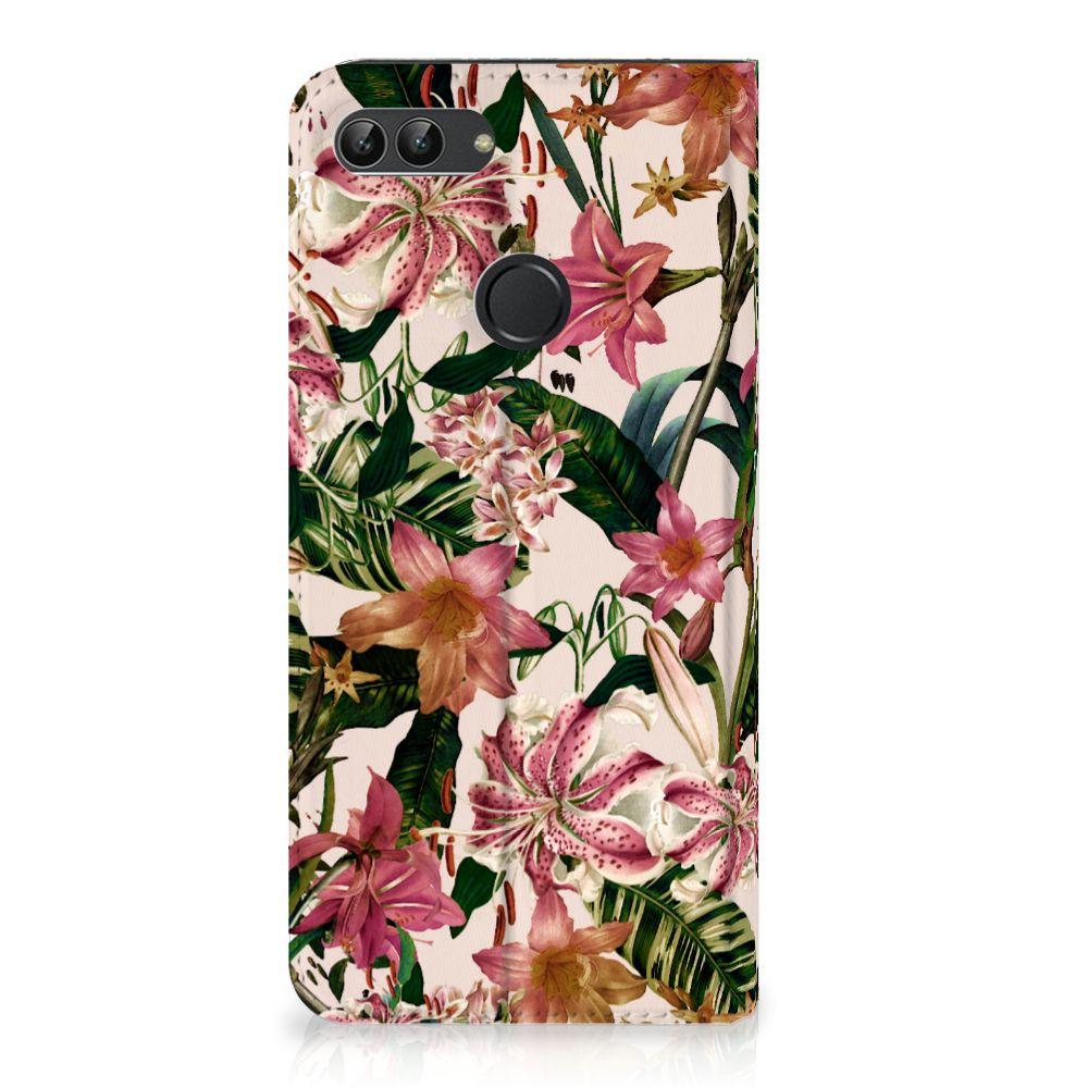 Huawei P Smart Uniek Standcase Hoesje Flowers