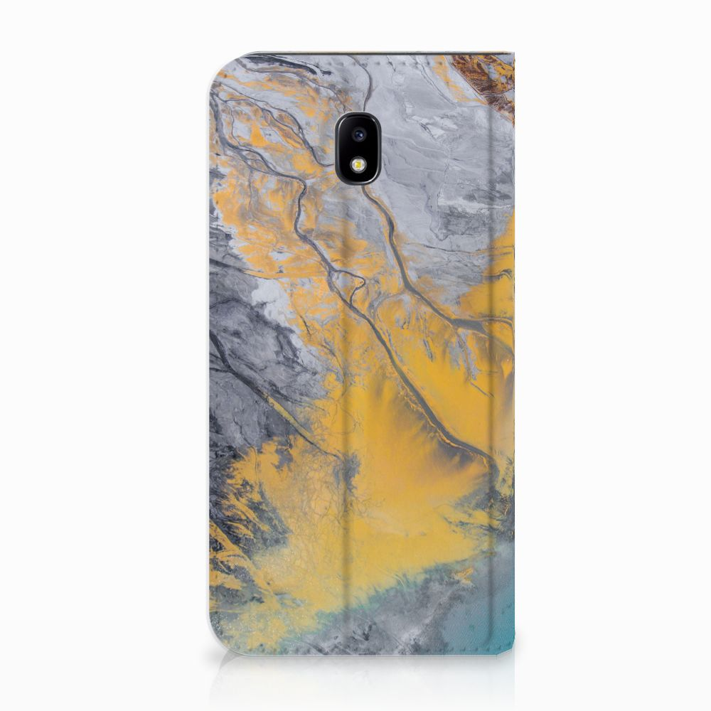 Samsung Galaxy J5 2017 Standcase Hoesje Design Marble Blue Gold