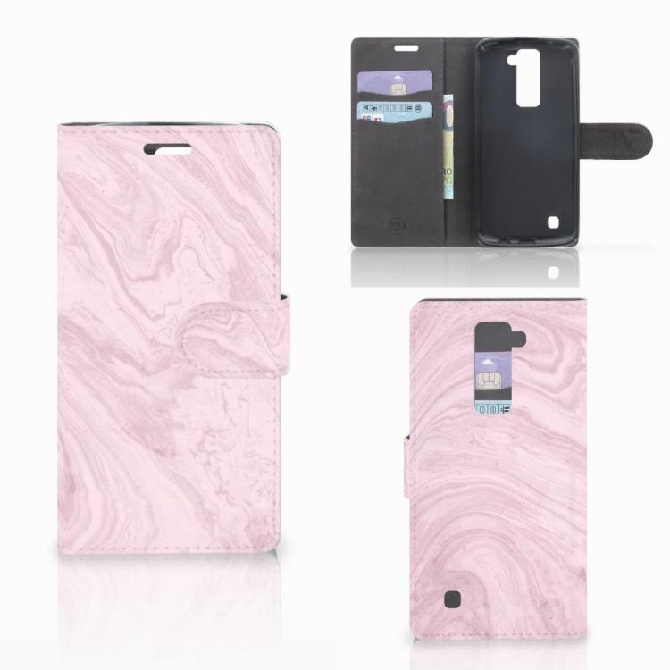 LG K10 2015 Bookcase Marble Pink - Origineel Cadeau Vriendin