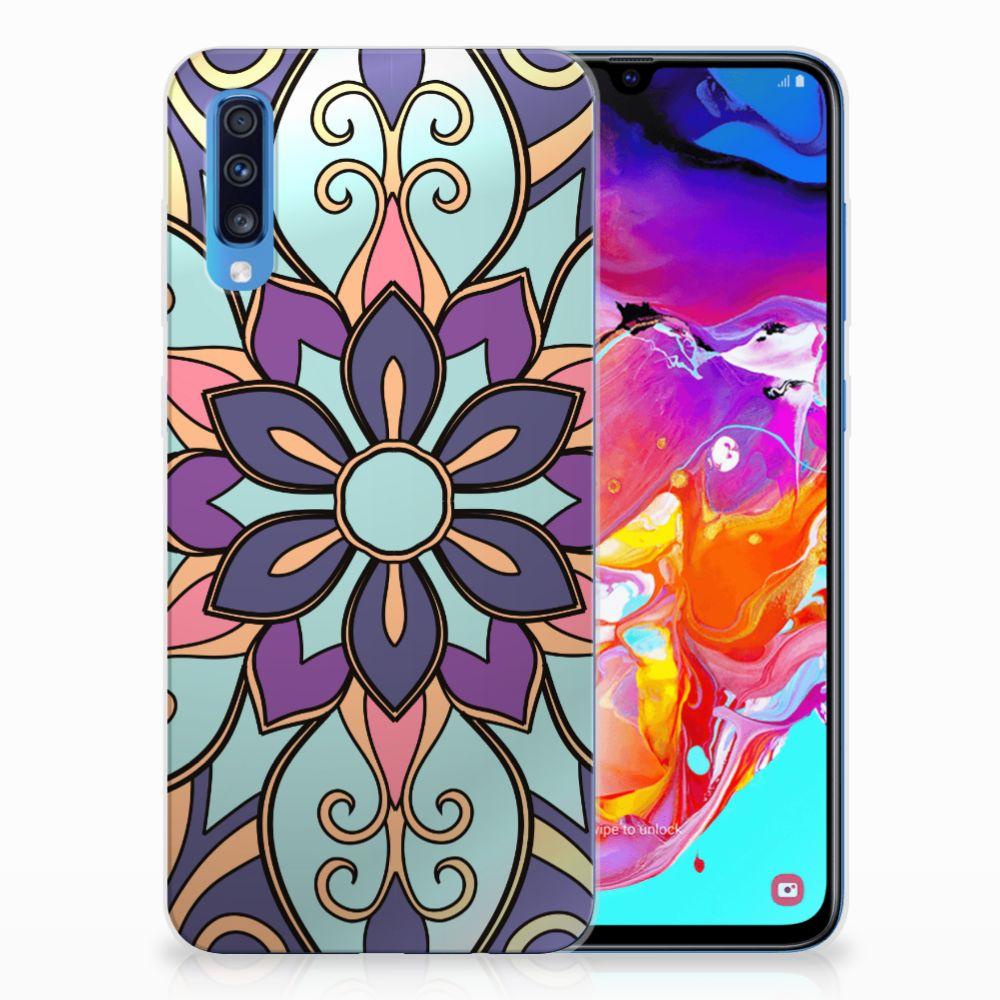 Samsung Galaxy A70 TPU Hoesje Design Purple Flower