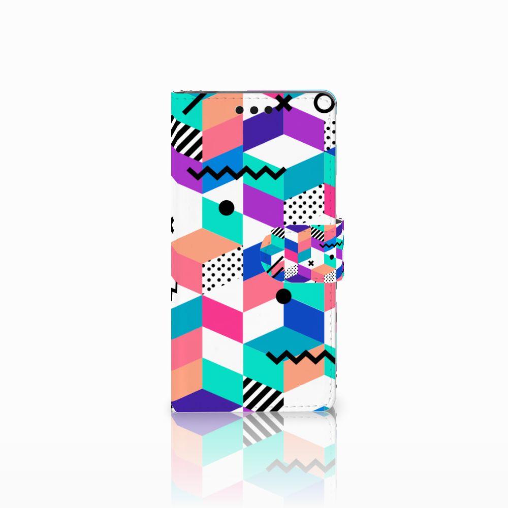 Sony Xperia M4 Aqua Boekhoesje Design Blocks Colorful