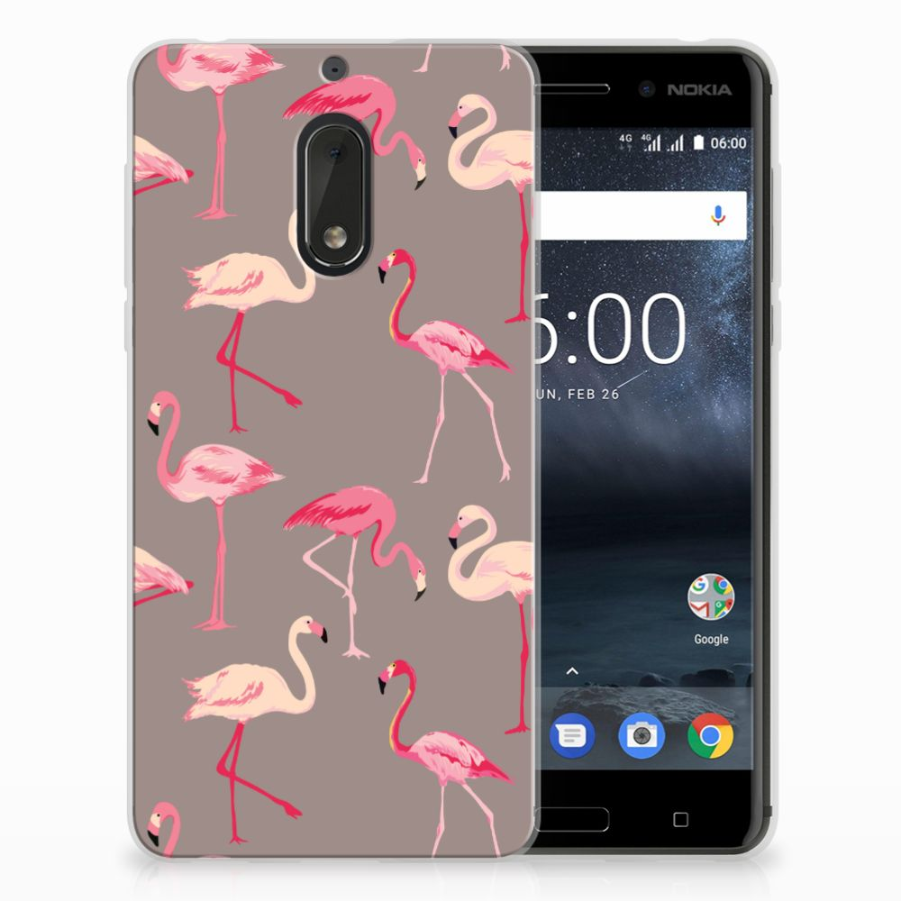 Nokia 6 Uniek TPU Hoesje Flamingo