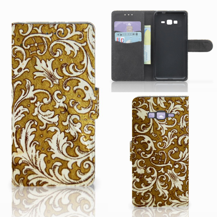 Wallet Case Samsung Galaxy Grand Prime | Grand Prime VE G531F Barok Goud