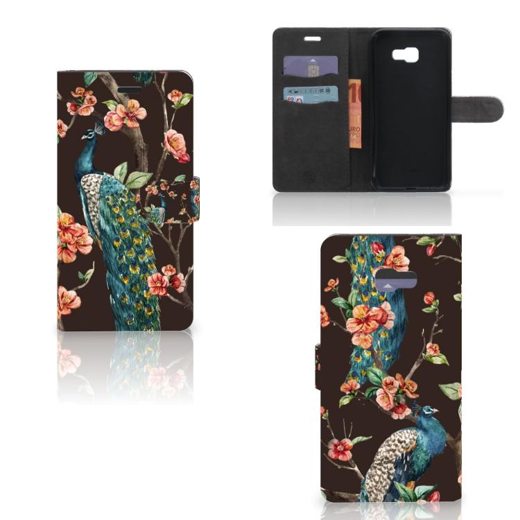 Samsung Galaxy A7 2017 Telefoonhoesje met Pasjes Pauw met Bloemen