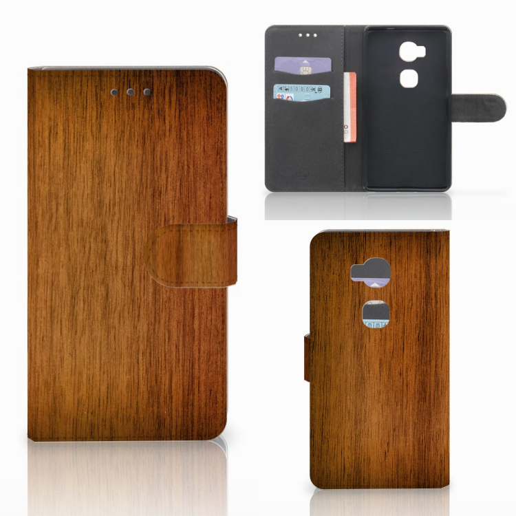 Huawei Honor 5X Book Style Case Donker Hout