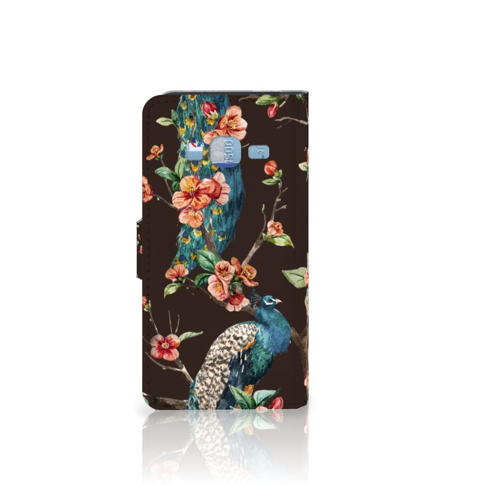 Samsung Galaxy J3 2016 Telefoonhoesje met Pasjes Pauw met Bloemen