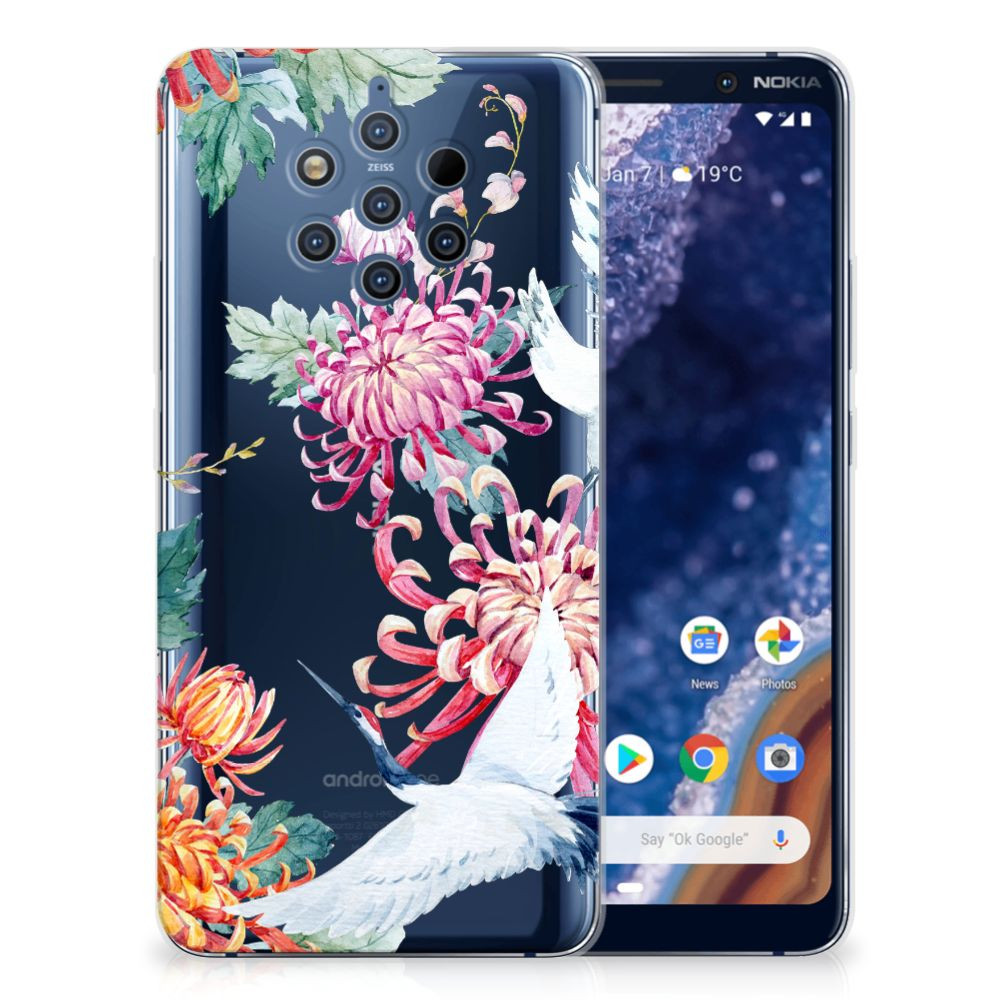 Nokia 9 PureView TPU Hoesje Bird Flowers