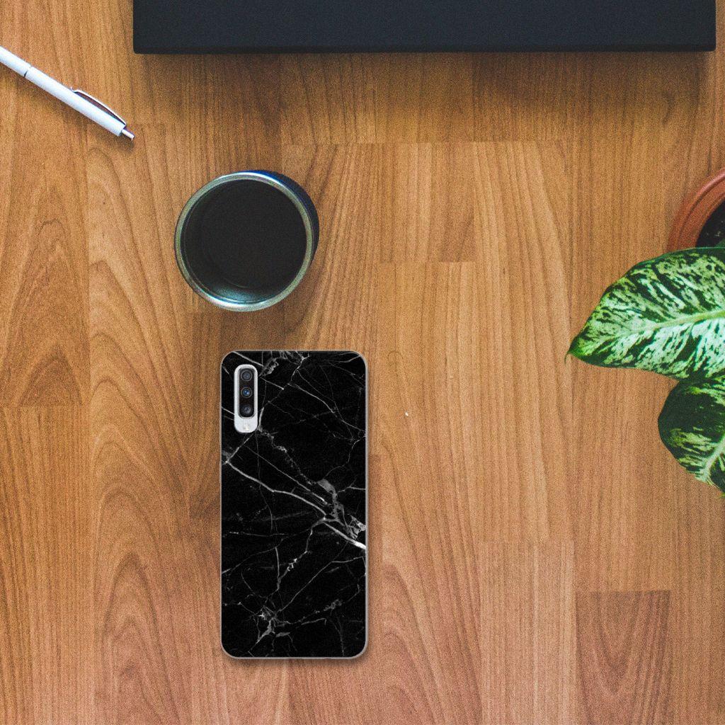Samsung Galaxy A70 TPU Siliconen Hoesje Marmer Zwart - Origineel Cadeau Vader