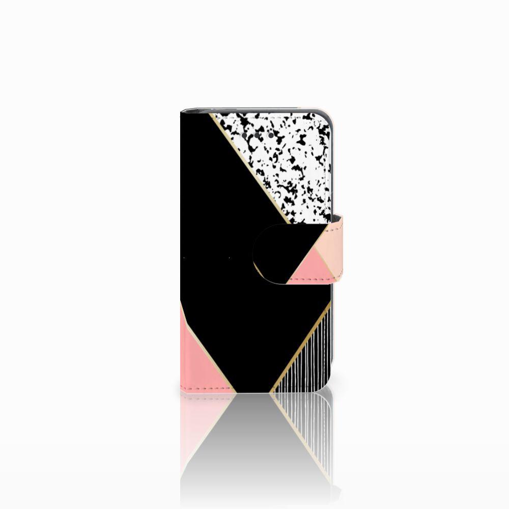 Nokia Lumia 530 Boekhoesje Black Pink Shapes