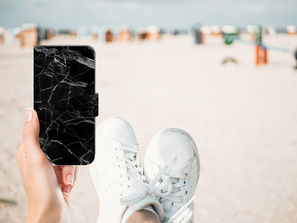 Apple iPhone X | Xs Boekhoesje Marmer Zwart