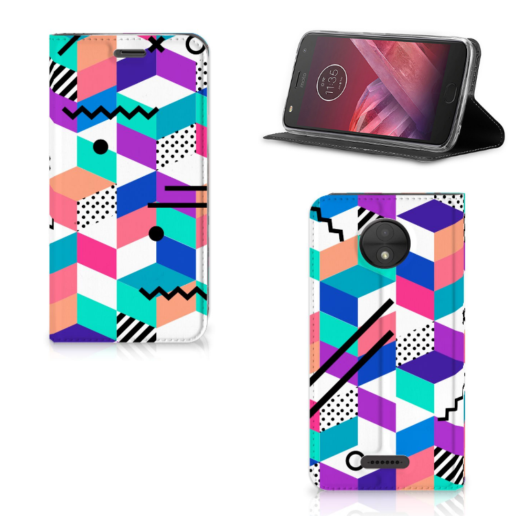 Motorola Moto C Stand Case Blokken Kleurrijk