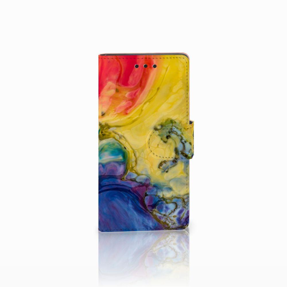 Sony Xperia Z5 Compact Uniek Boekhoesje Watercolor Dark