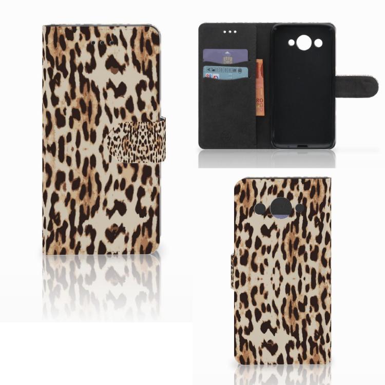 Huawei Y3 2017 Telefoonhoesje met Pasjes Leopard