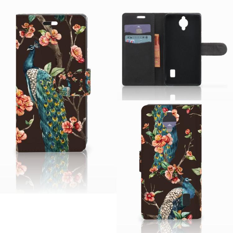 Huawei Y635 Telefoonhoesje met Pasjes Pauw met Bloemen