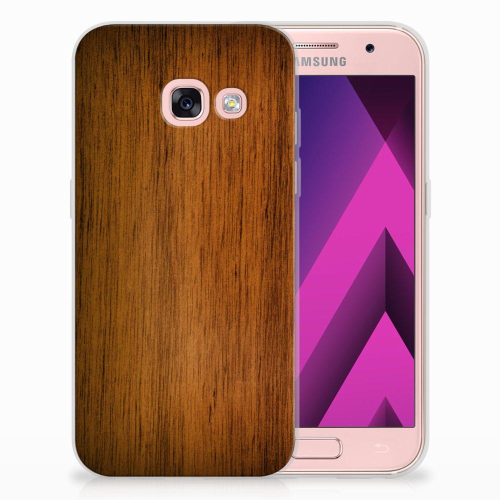 Samsung Galaxy A3 2017 Uniek TPU Hoesje Donker Hout