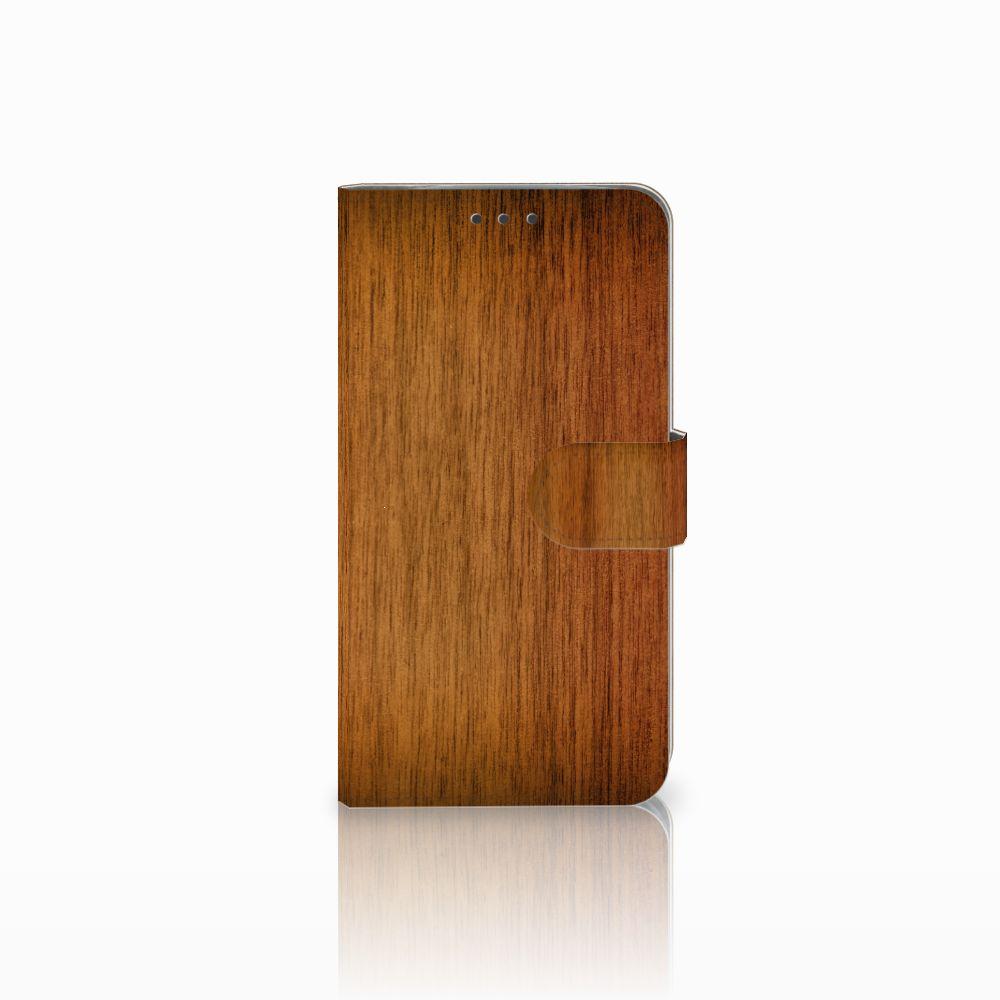 Motorola Moto E4 Plus Uniek Boekhoesje Donker Hout