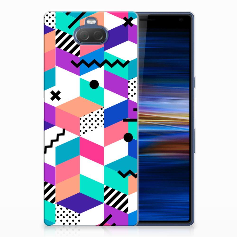 Sony Xperia 10 Plus TPU Hoesje Blokken Kleurrijk