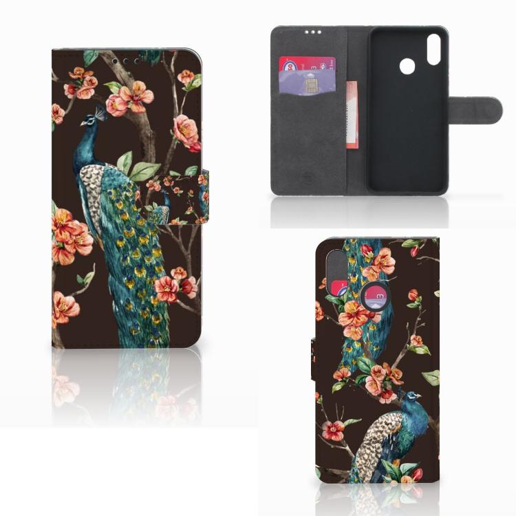 Huawei P Smart Plus Telefoonhoesje met Pasjes Pauw met Bloemen