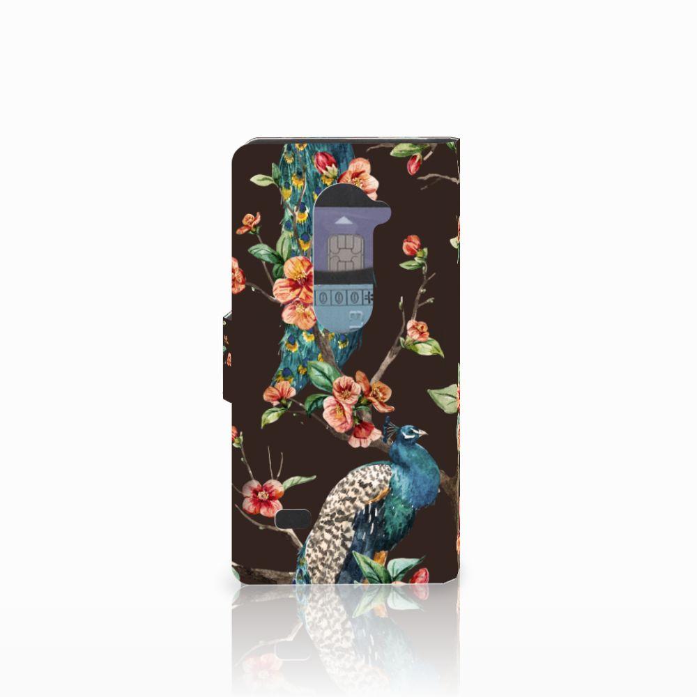 LG Leon 4G Telefoonhoesje met Pasjes Pauw met Bloemen