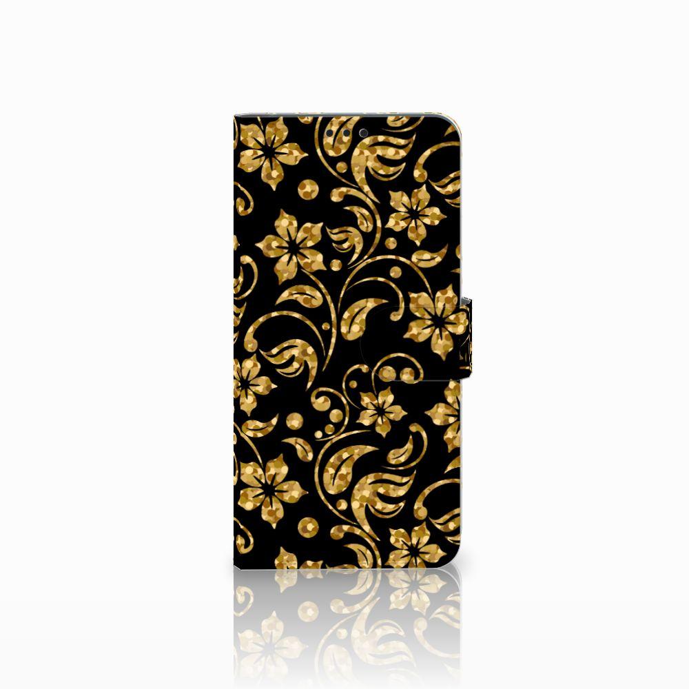 Huawei P Smart Plus Boekhoesje Design Gouden Bloemen