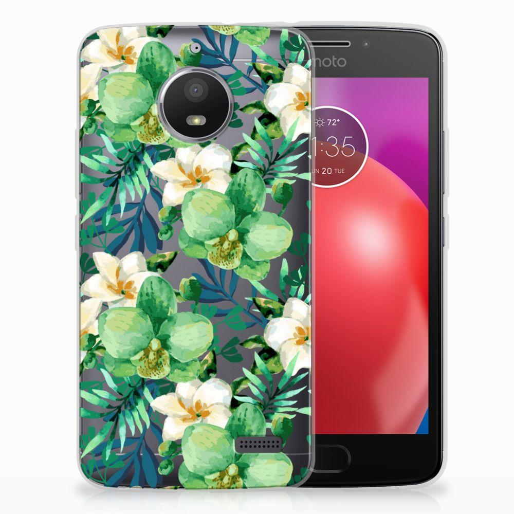Motorola Moto E4 Uniek TPU Hoesje Orchidee Groen