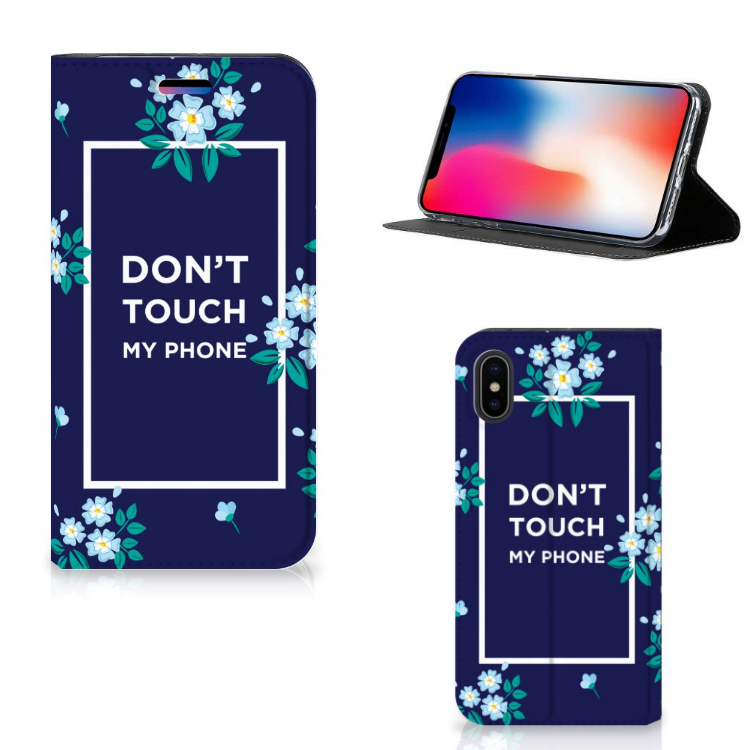 Apple iPhone X | Xs Design Case Flowers Blue DTMP