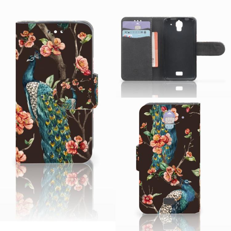 Huawei Y360 Telefoonhoesje met Pasjes Pauw met Bloemen