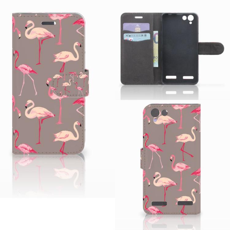Lenovo Vibe K5 Telefoonhoesje met Pasjes Flamingo