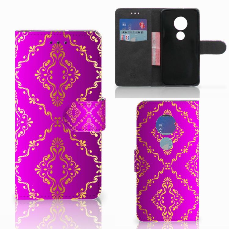 Wallet Case Motorola Moto G7 Play Barok Roze
