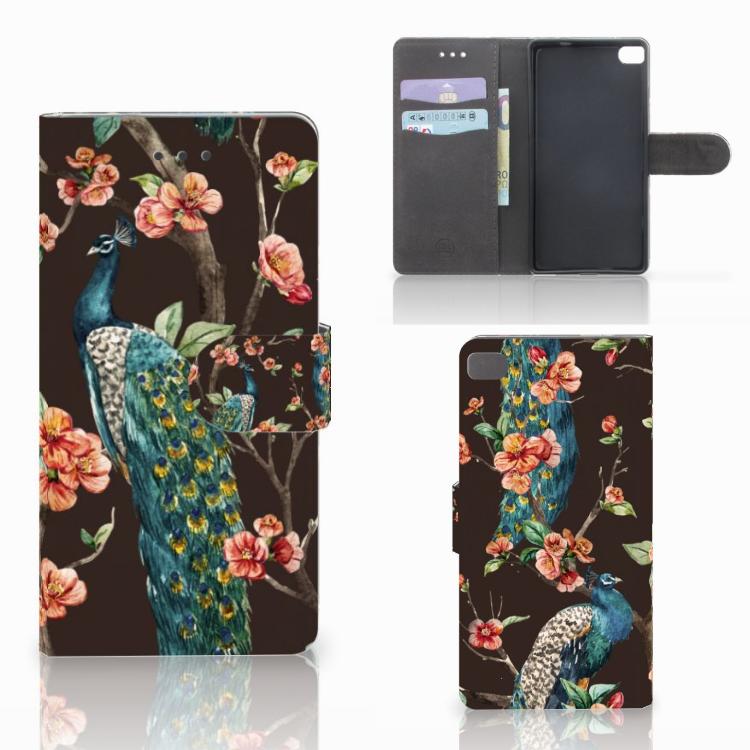 Huawei P8 Telefoonhoesje met Pasjes Pauw met Bloemen