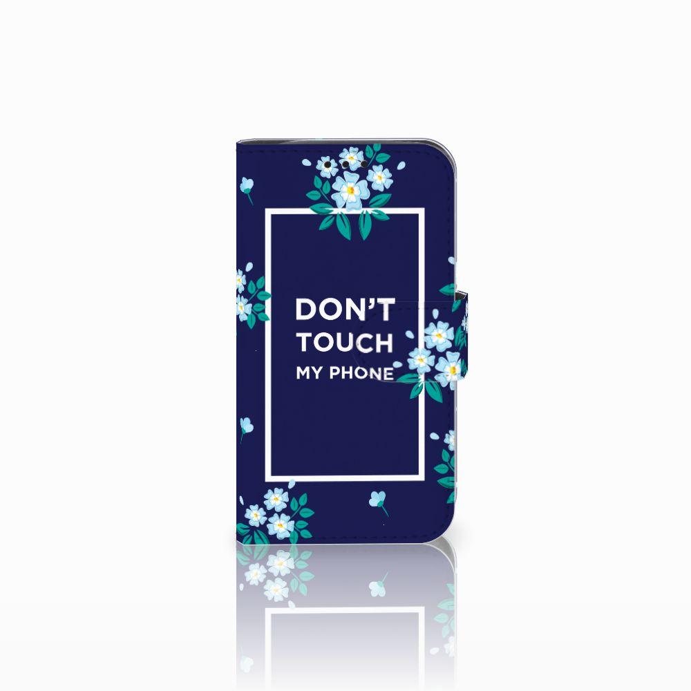 LG L90 Portemonnee hoesje Flowers Blue DTMP