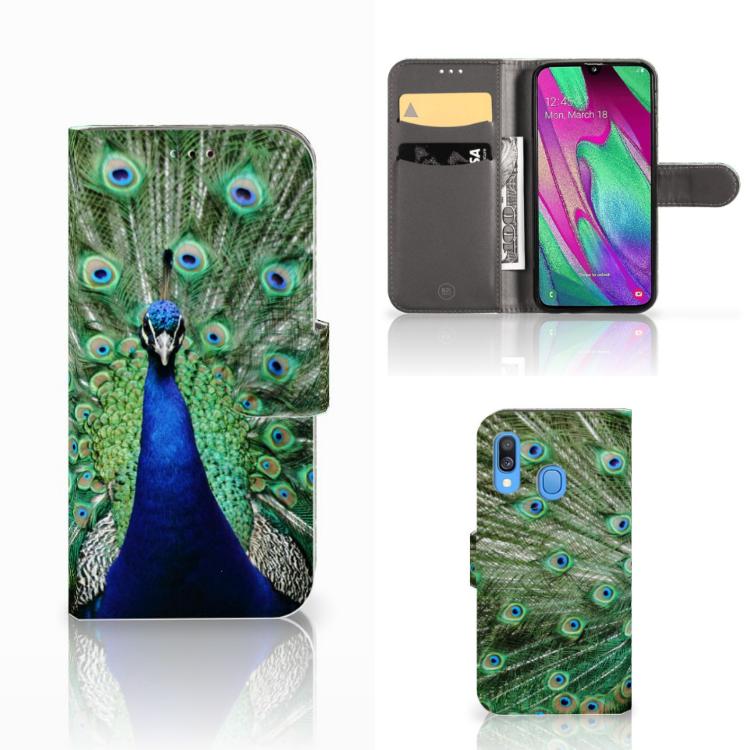 Samsung Galaxy A40 Telefoonhoesje met Pasjes Pauw