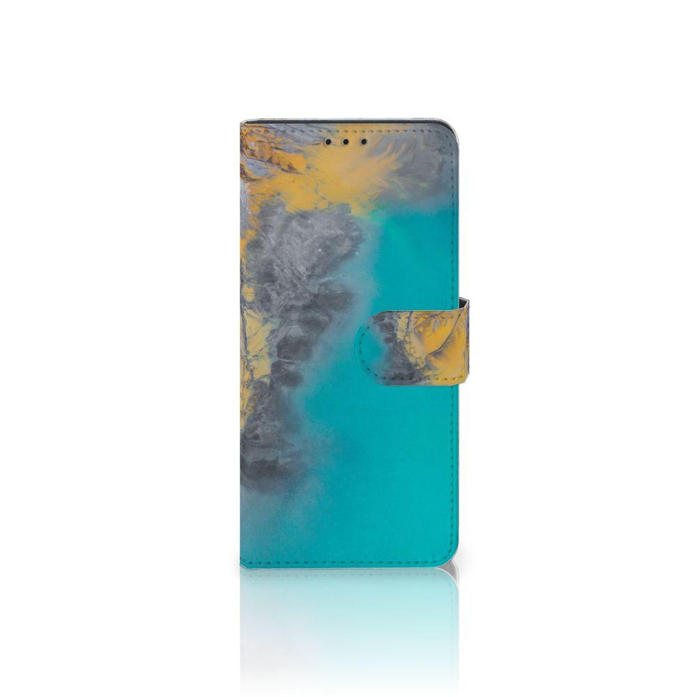 Motorola Moto G6 Plus Boekhoesje Design Marble Blue Gold