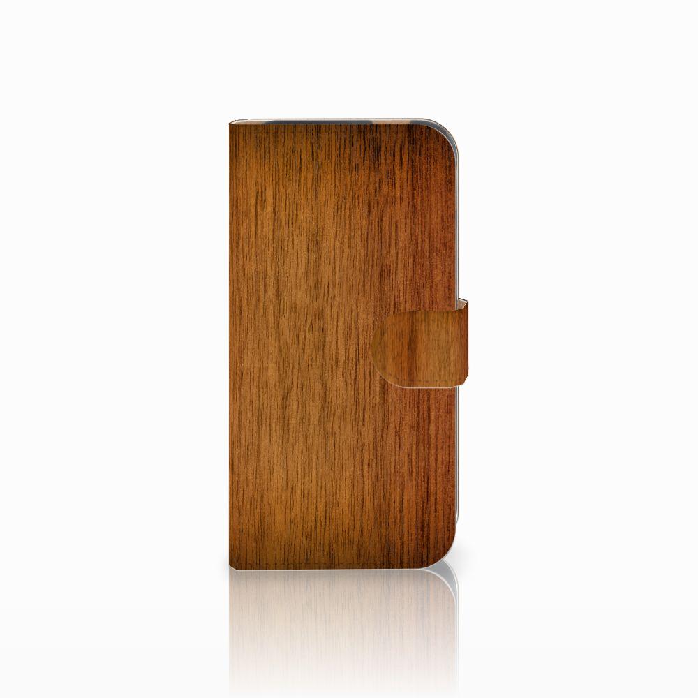 HTC One M8 Uniek Boekhoesje Donker Hout